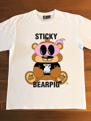 STICKY BEARPIG (white) - Adults T-Shirt