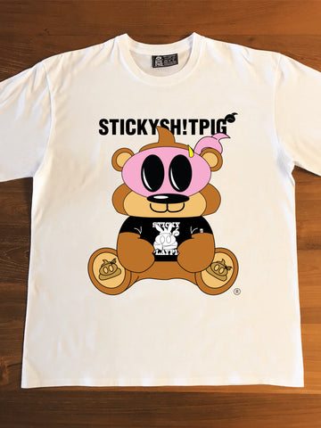 THE TEDDY PIG (white) - Adults T-Shirt