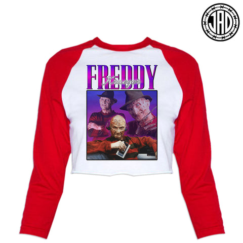 90s Fred - Women's Cropped Baseball Tee