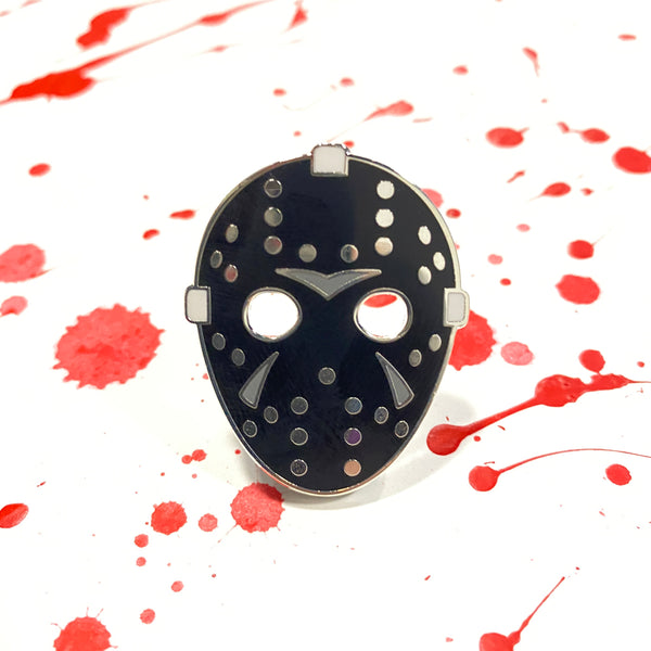 Hockey Mask - Silver/Black - Enamel Pin