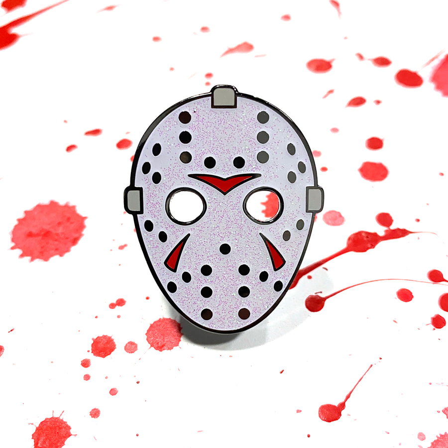 Hockey Mask - White Glitter/Red Markings - Pin
