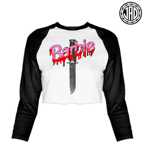 Barbie Killer - Women's Cropped Baseball Tee