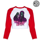 Black Scream Ghoul - Women's Cropped Baseball Tee