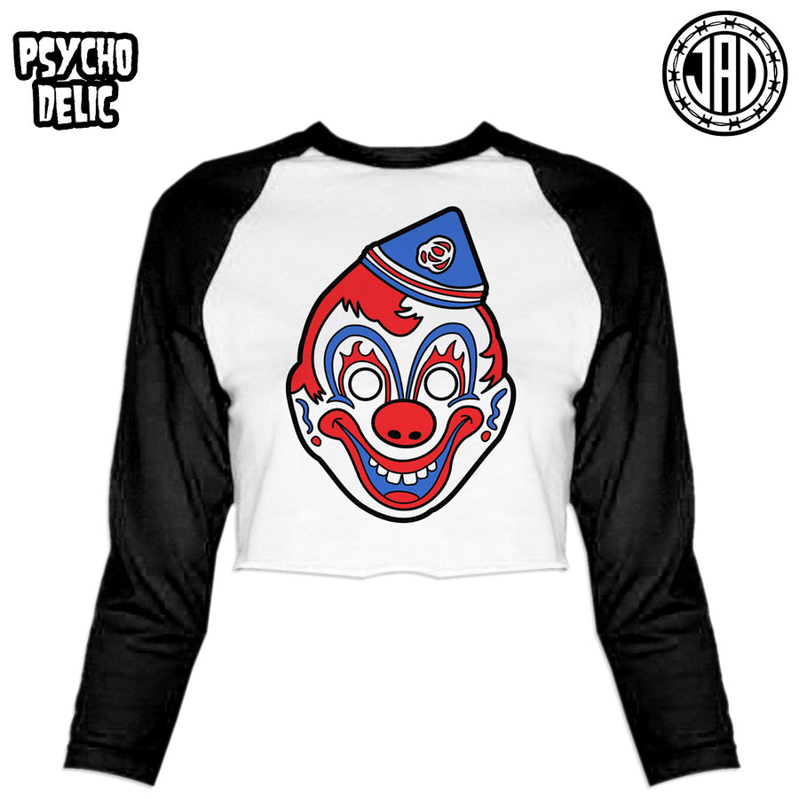 Clown Mask - Women's Cropped Baseball Tee