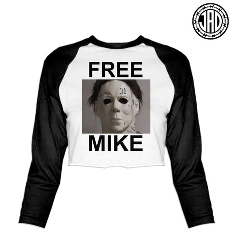 Free Mike - Women's Cropped Baseball Tee