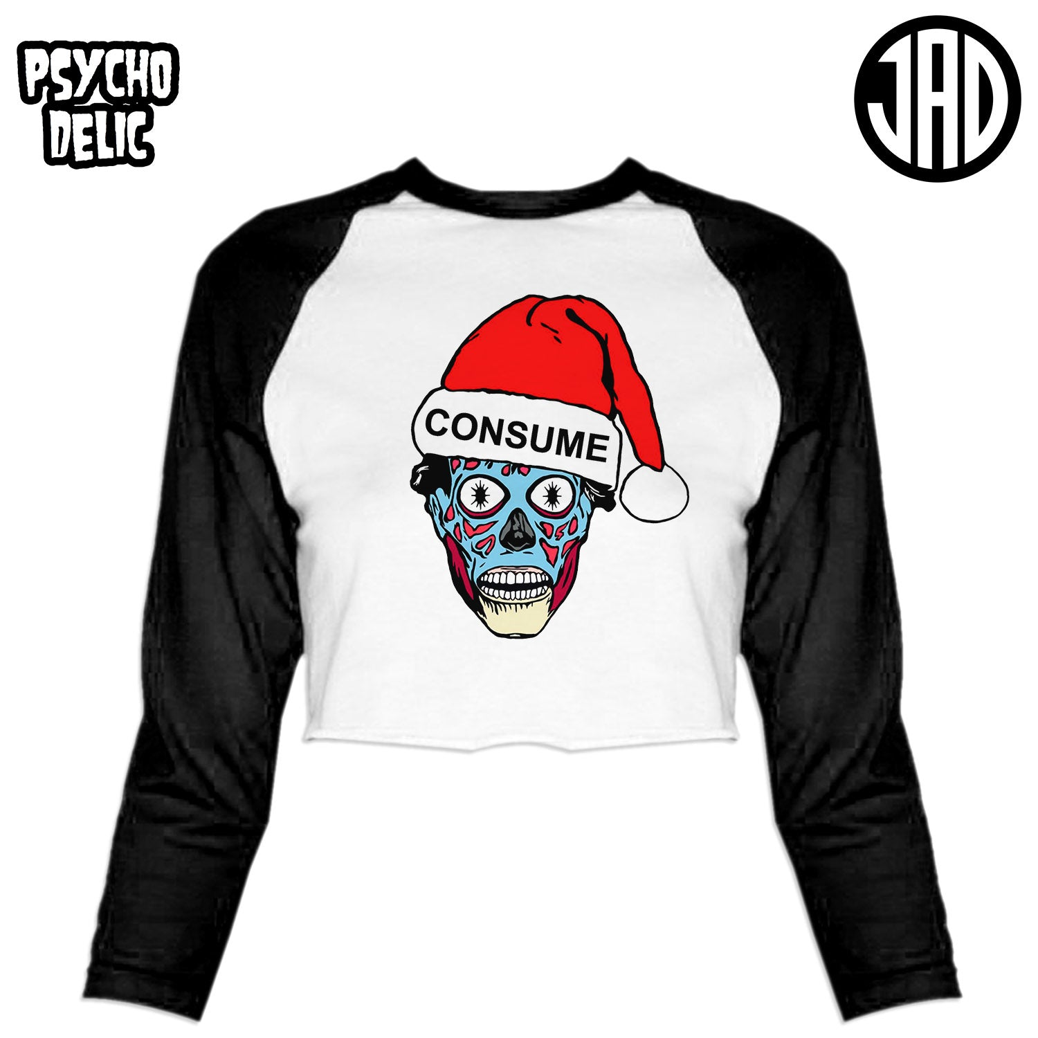 Holiday Consumer - Women's Cropped Baseball Tee