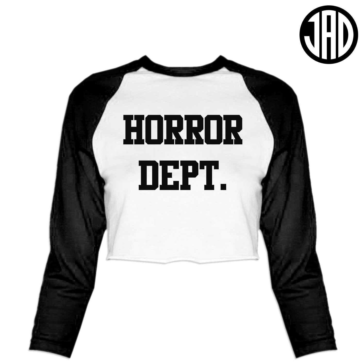 Horror Dept - Women's Cropped Baseball Tee