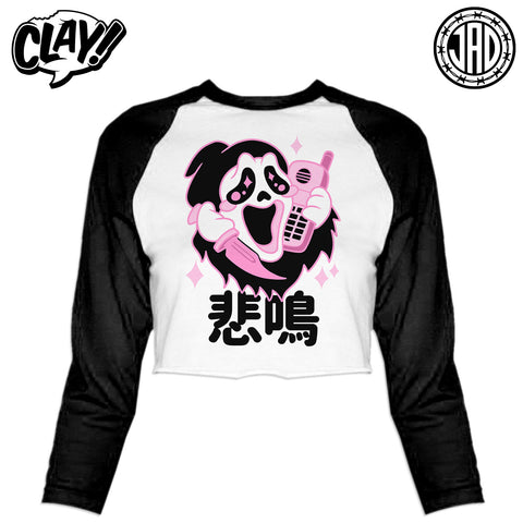 Kawaii Ghost - Women's Cropped Baseball Tee