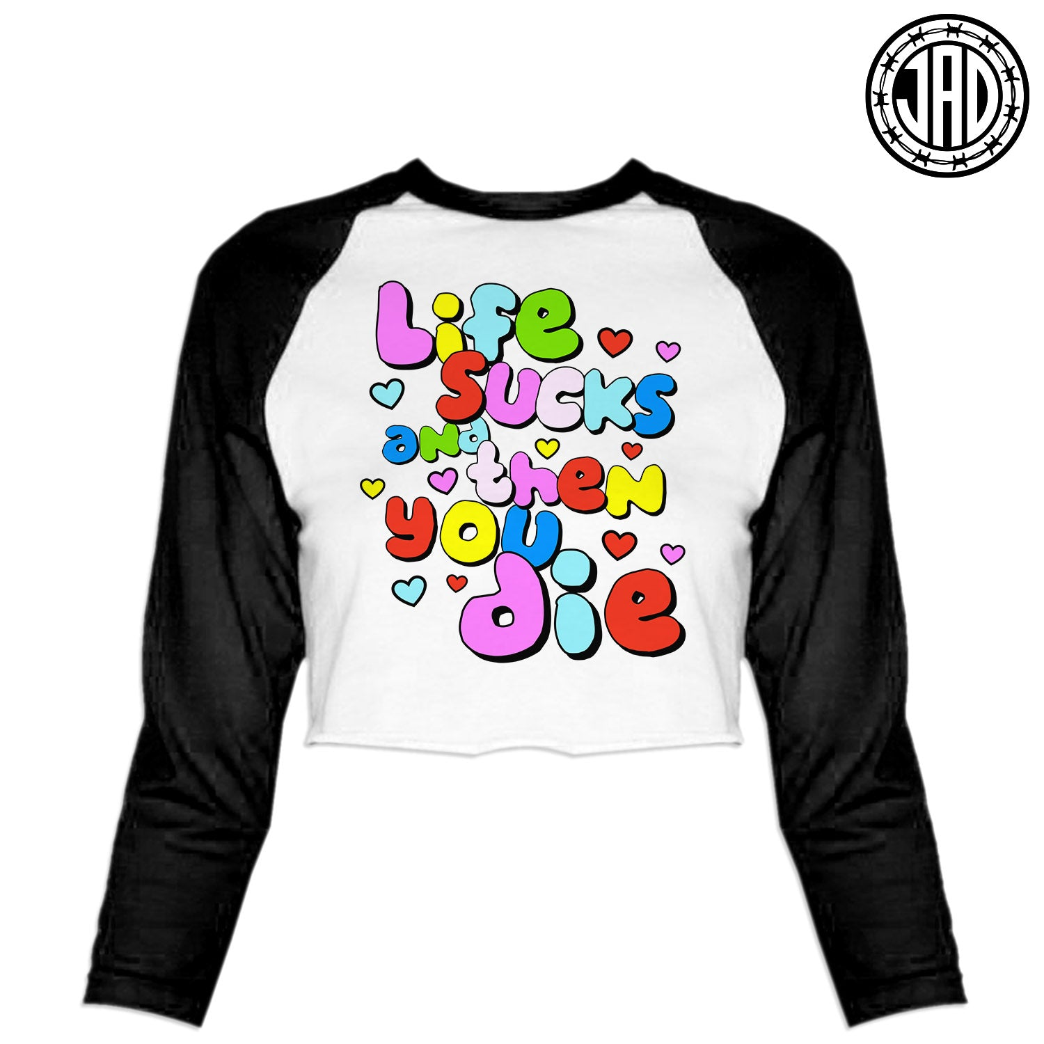 Life Sux - Women's Cropped Baseball Tee