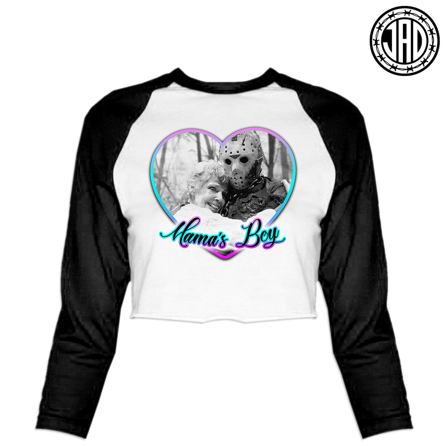 Mama's Boy - Women's Cropped Baseball Tee