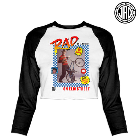 Rad On Elm Street - Women's Cropped Baseball Tee