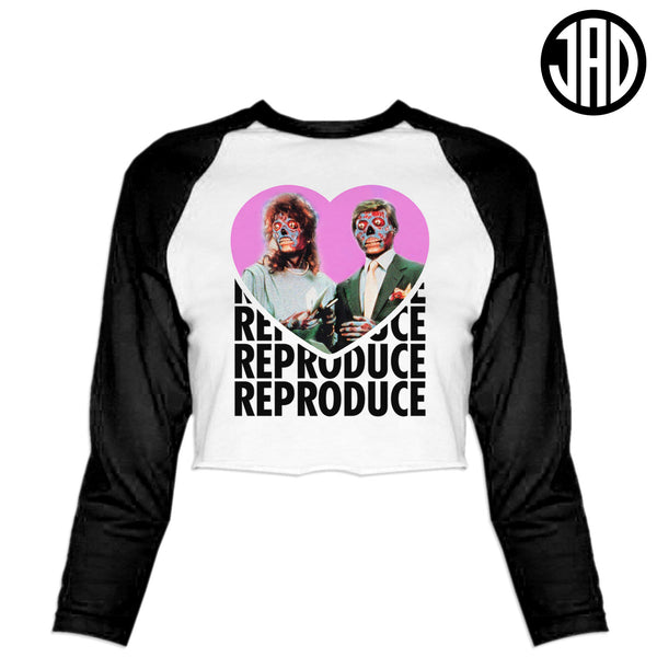 Reproduce - Women's Cropped Baseball Tee