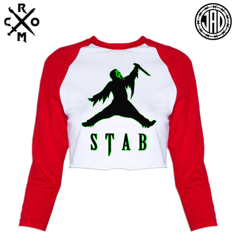 Just Stab It - Women's Cropped Baseball Tee