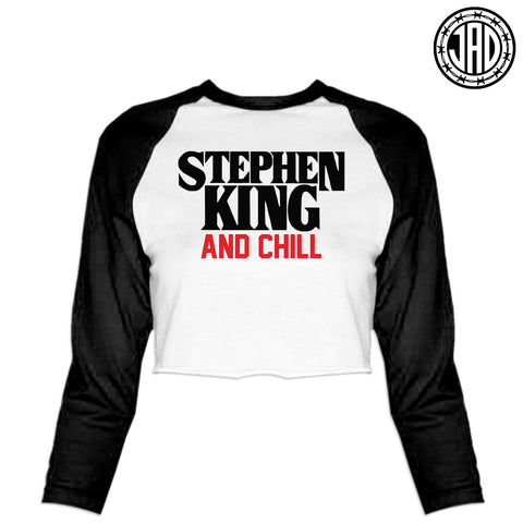 Stephen King And Chill - Women's Cropped Baseball Tee