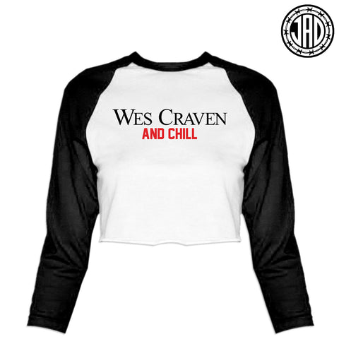 Wes Craven and Chill - Women's Cropped Baseball Tee