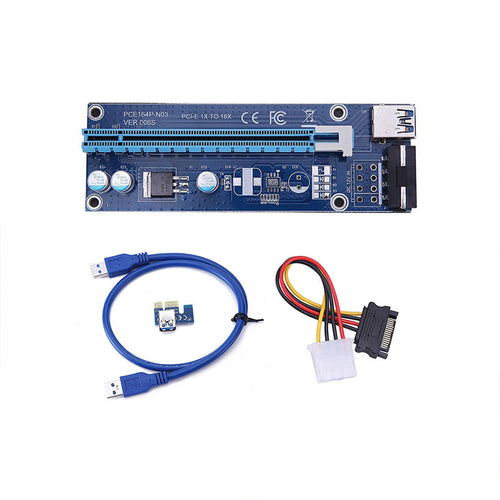 PCI-E 16x to 1x Powered Riser Adapter Card w/ 60cm USB 3.0 Extension Cable & 4-Pin PCI-E to SATA Power Cable