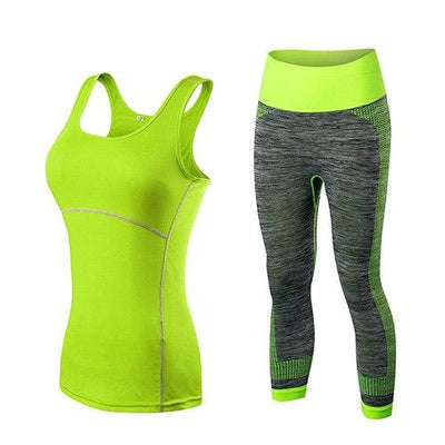 FNMM Quick Dry sportswear Gym Leggings Female T-shirt Costume Fitness Tights Sport Suit Green Top Yoga Set Women's Tracksuit - Grovit