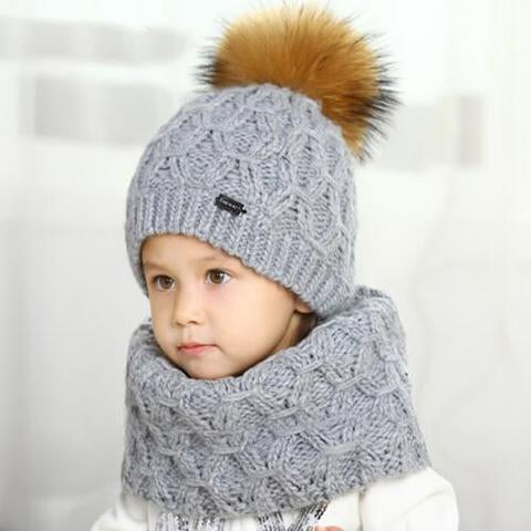 Hat - Fur Pompon Winter Warm Child Hat Scarf Set