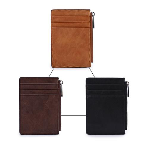 Wallet - Genuine Leather Mini Zip Coin Purse