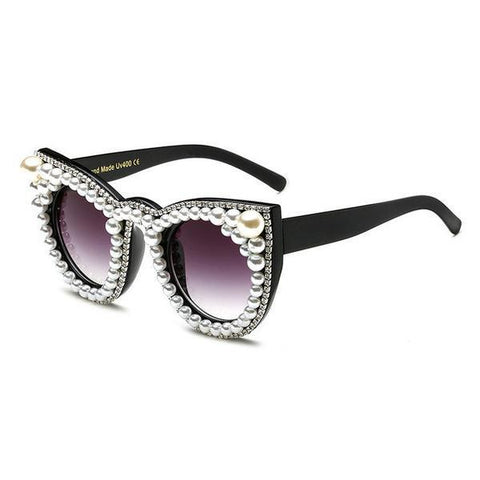 Sunglasses - Luxury Beautiful Pearl Rhinestone Vintage Sunglasses