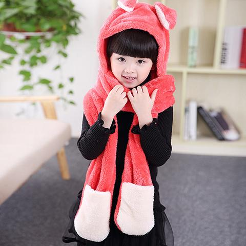 Kids Hats - Cute Bunny Warm One-piece Children Scarf Hat