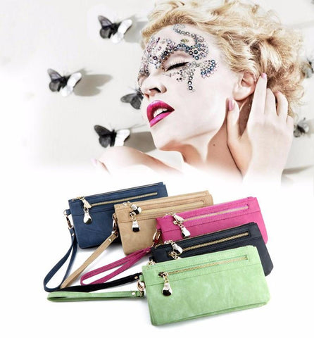 Wallets - Fashion Double Zipper PU Leather Wallet