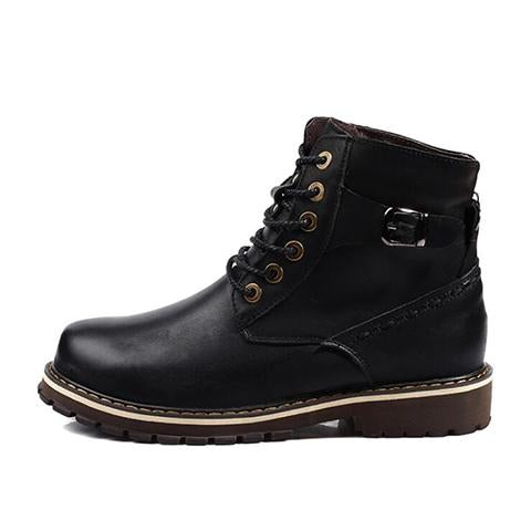 Boots - Genuine Leather Lace-Up Warm Winter Fur Military Boots