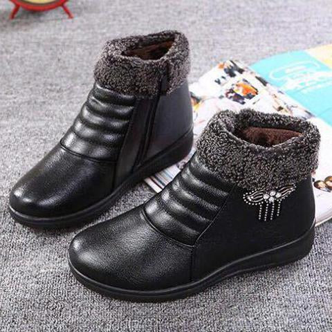Boots - Antiskid Soft Leather Winter Warm Ankle Boots
