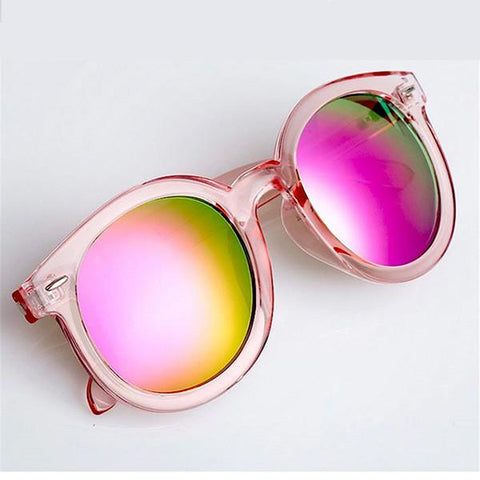 Sunglasses - Pink Round Mirror Female Sunglasses