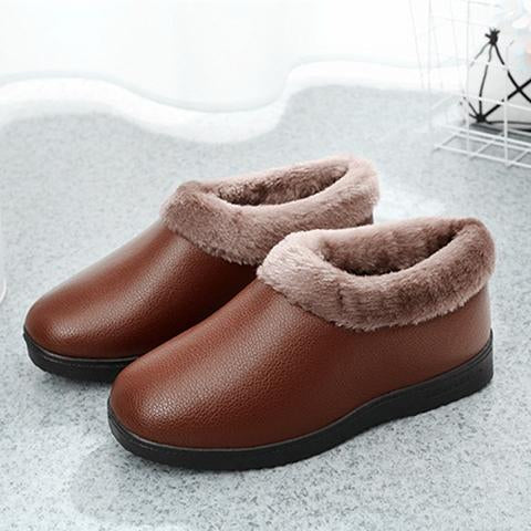 Shoes - Waterproof PU Leather Non-slip Warm Fur Shoes