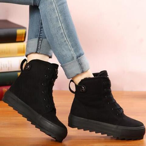 Boots - Fur Slip On Ankle Motorcycle Boots