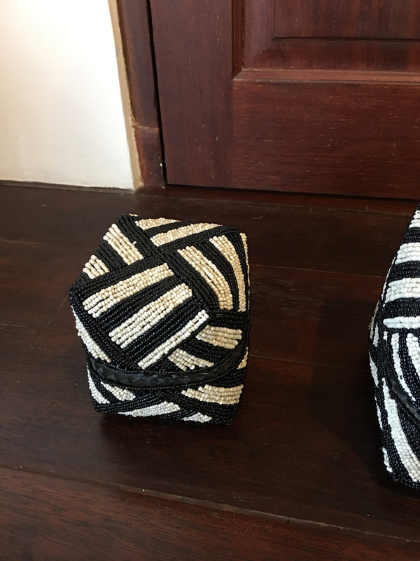 BEADED BOXES SMALL NO 14 BLACK & WHITE STRIPES