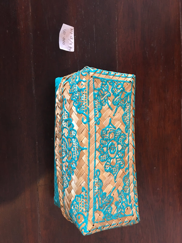 BXLJ40KHENNA PAINTED SOLID BOTTOM INDONESIAN TIKAR BOX LONJONG BLUE