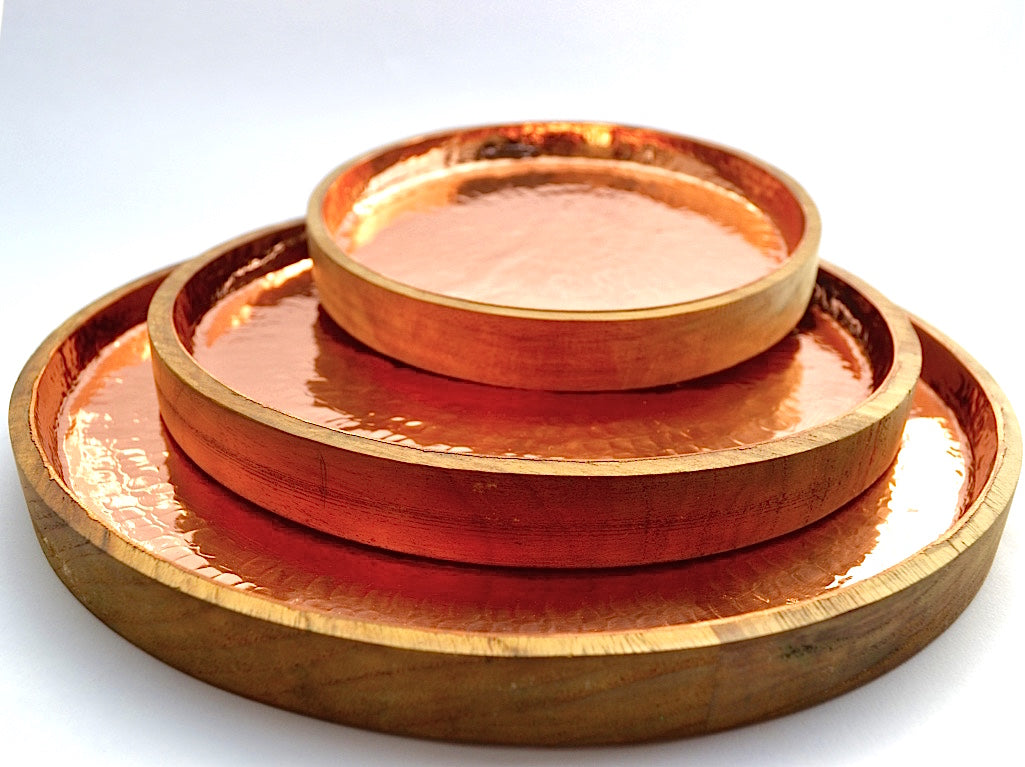 HAMMERED COPPER ROUND TRAY SET