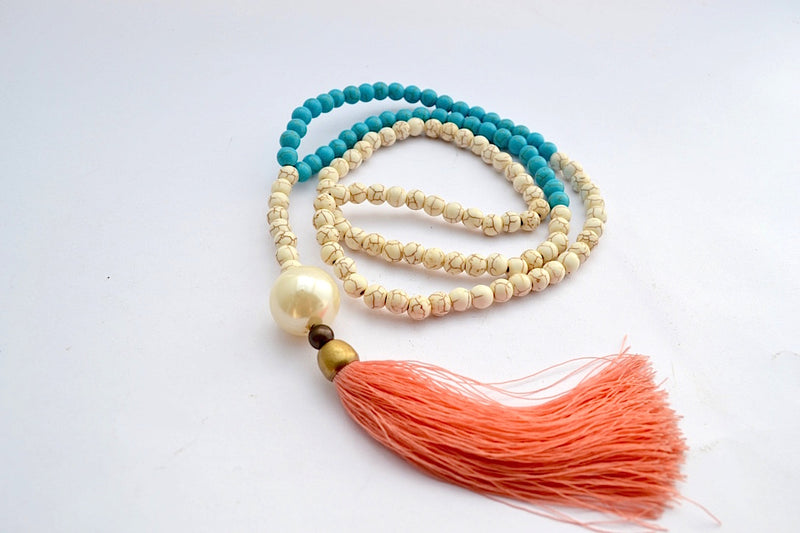 DUAL CREMA STONE & ONYX BEADS LARGE FAUX PEARLY BALL W LONG BURNT ORANGE TASSEL NECKLACE