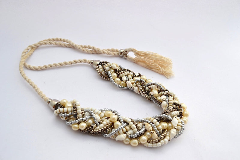 MULTI BRONZE METALLIC SILVER BEADS FAUX PEARL SHELL BRAIDED NECKLACE W ADJUSTABLE STRING