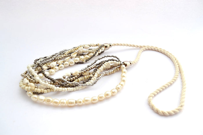MULTI STRANDS METALLIC SILVER BEADS FAUX PEARL SHELL W STRING NECKLACE W ADJUSTABLE STRING