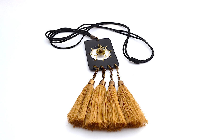 LEATHER STRANDS CHINESE GOLD COIN CENTERED W 4 BRONZE TASSEL NECKLACE