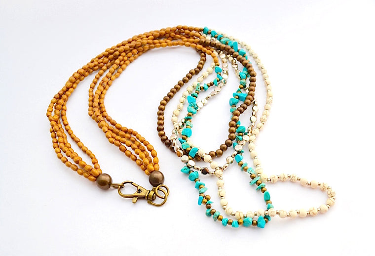 MULTI STRAND WOODEN SYNTHETIC CREAM STONE BRONZE & TURQUOISE BEADS COMBO NECKLACE