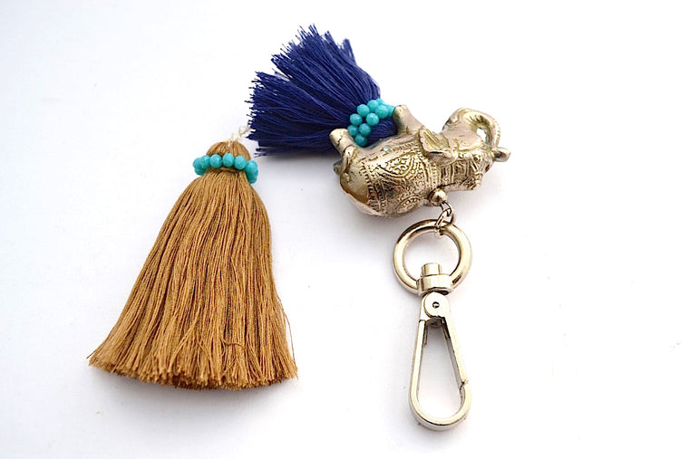 BRONZE SILVER PLATED GANESHA DOUBLE STACKED TASSEL W CRYSTAL BEADS KEYCHAIN DARK BLUE & BROWN