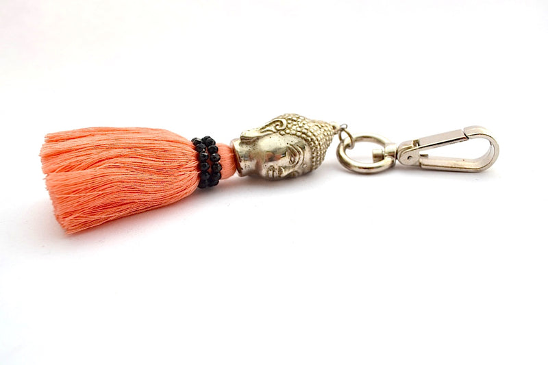 BRONZE BUDDHA 8 LAYERED DUAL COLORED GLASS BEAD TASSEL KEYCHAIN