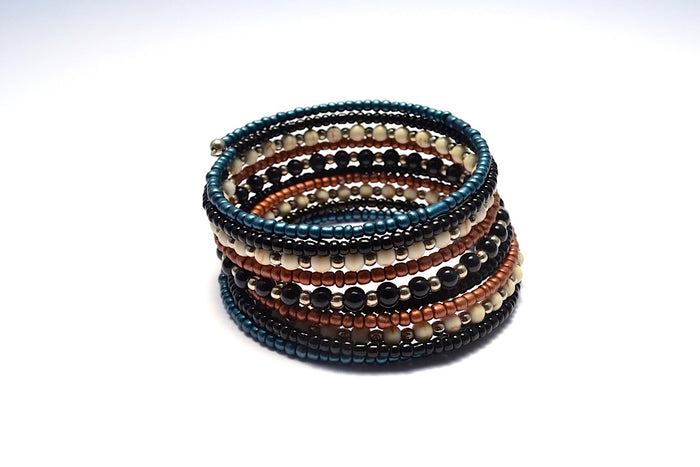 MIXED SILVER BLACK BLUE & BRONZE METALLIC BEADED WRAP BRACELET