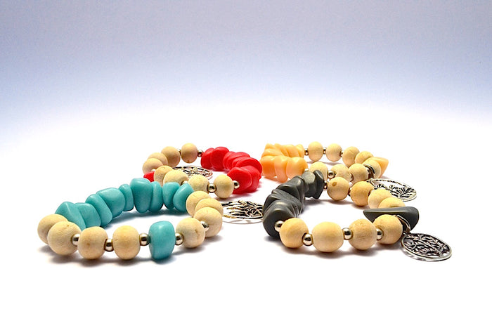 SONO WOOD ROUND BEADS WITH RESIN STONES & TREE OF LIFE BANGLE