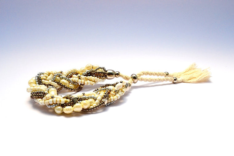 MULTI BRONZE METALLIC SILVER BEADS FAUX PEARL SHELL BRAIDED BRACELET W ADJUSTABLE STRING