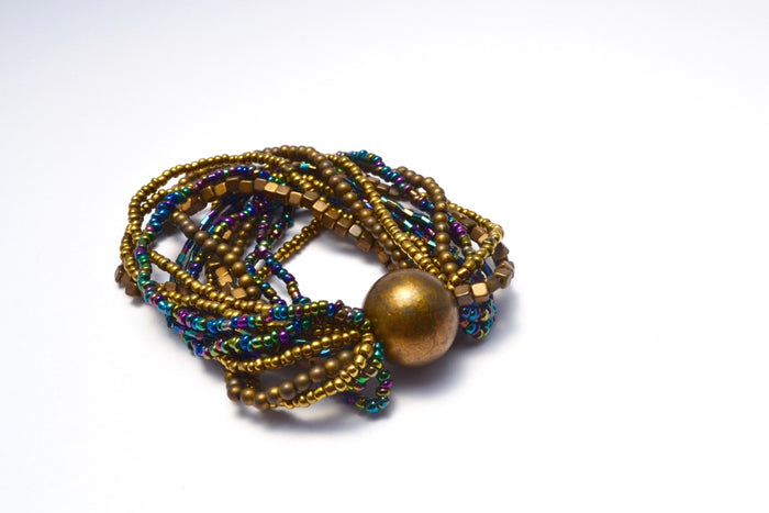 SHORT MULTI LOOSE STRANDS BRONZE PURPLE BLUES & GOLD BEADS