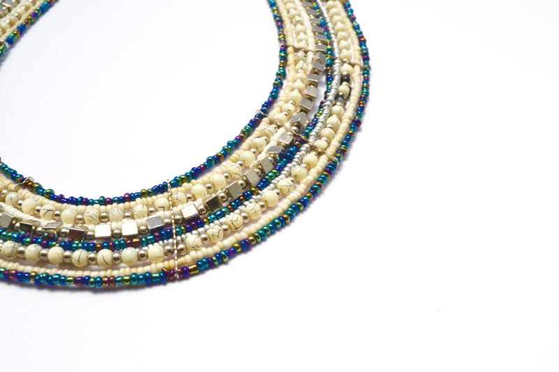 CLEOPATRA MULTI STRAND GLASS & VIRUS GLASS BEADS NECKLACE