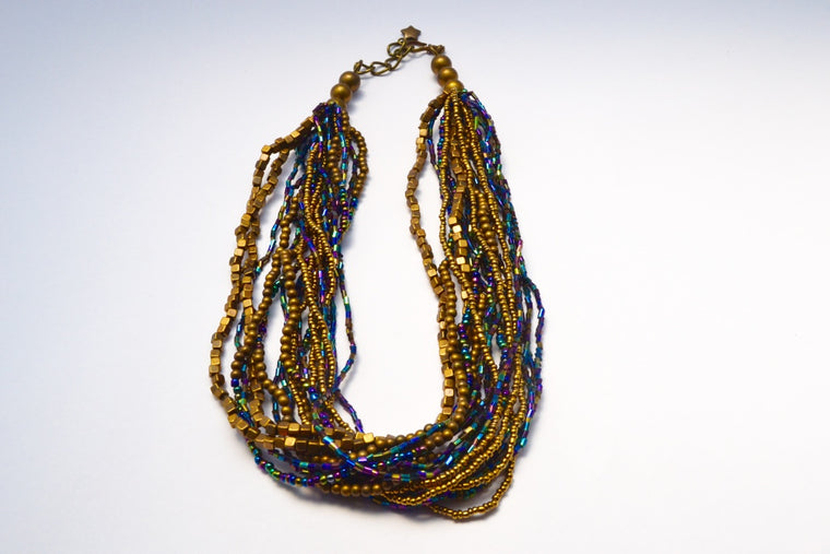 SHORT MULTI LOOSE STRANDS BRONZE PURPLE BLUES & GOLD BEADS NECKLACE