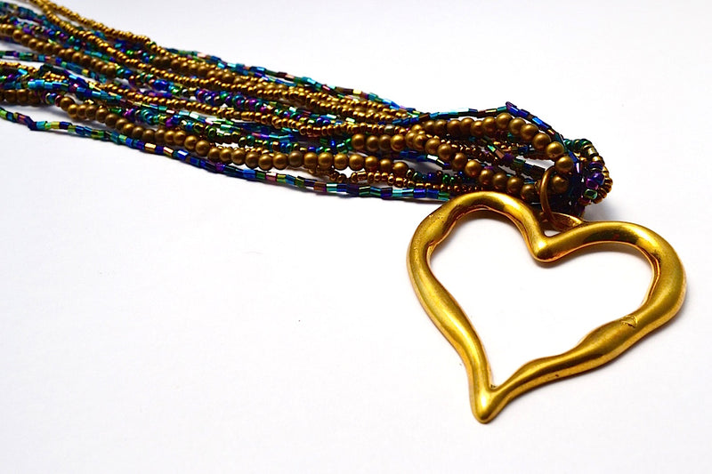 LONG MULTI STRANDS BRONZE PURPLE BLUES & GOLD BEAD NECKLACE W A BRONZE HEART BANGLE
