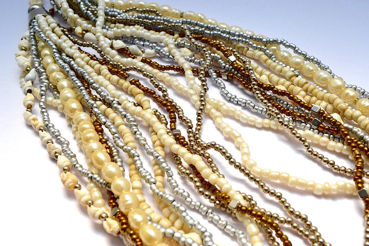 MULTI STRANDS BRONZE METALLIC SILVER BEADS FAUX PEARL SHELL LOOSE NECKLACE W FRENCH BRAIDED STRING
