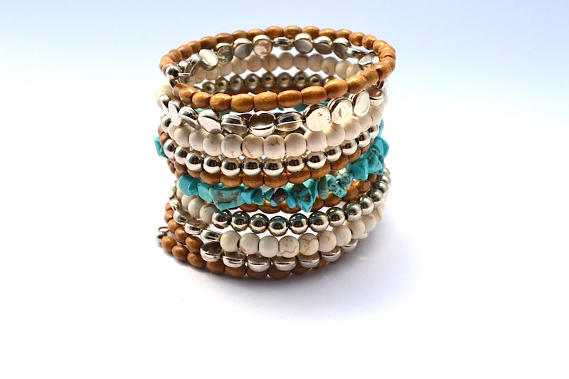TURQUOISE STONE FAUX PEARL SILVER WRAP BRACELET